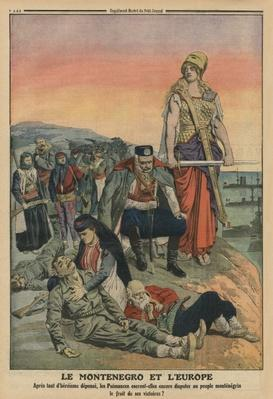Montenegro and Europe, back cover illustration from 'Le Petit Journal', supplement illustre, 4th May 1913