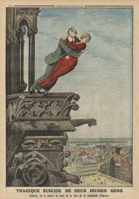 Tragic suicide of two young people from the tower of the cathedral in Antwerp, back cover illustration from 'Le Petit Journal', supplement illustre, 11th May 1913