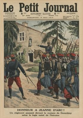 Honour to Joan of Arc, a regiment saluting the birthplace of the heroine at Domremy, front cover illustration from 'Le Petit Journal', supplement illustre, 18th May 1913