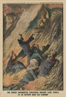 Fanatic Buddhist monks set their temple on fire and throw themselves into the flames, Island of Formosa, back cover illustration from 'Le Petit Journal', supplement illustre, 25th May 1913