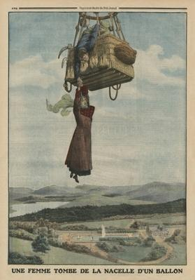 A woman falling down from the gondola of a balloon, back cover illustration from 'Le Petit Journal', supplement illustre, 1st June 1913