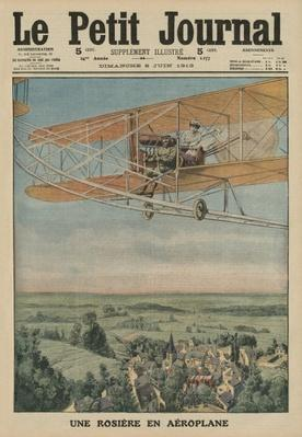 A virtuous maiden on an airplane, front cover illustration from 'Le Petit Journal', supplement illustre, 8th June 1913