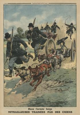 In the Belgian army, machine guns pulled by dogs, front cover illustration from 'Le Petit Journal', supplement illustre, 8th June 1913