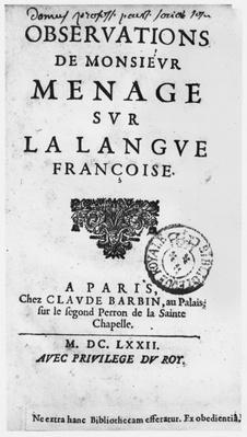 Titlepage of 'Observations sur la langue francaise' by Gilles Menage