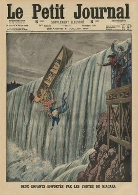 Two children carried along by the Niagara Falls, front cover illustration from 'Le Petit Journal', supplement illustre, 6th July 1913