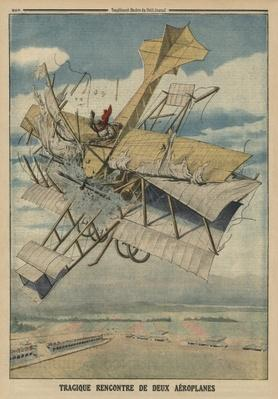 Tragic collision of two airplanes, back cover illustration from 'Le Petit Journal', supplement illustre, 6th July 1913
