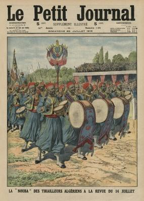 Musical section of the Algerian infantrymen parading at the review of the 14th July, front cover illustration from 'Le Petit Journal', supplement illustre, 20th July 1913