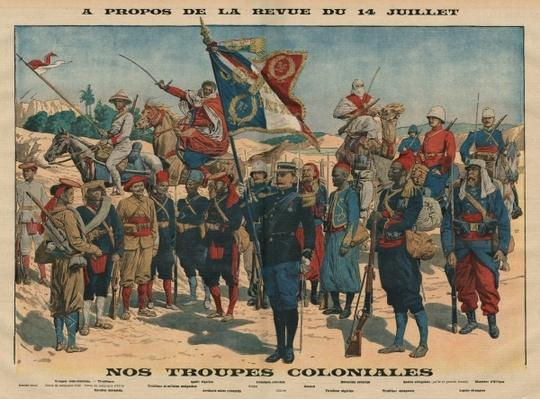Review of the 14th July, Our Colonial Troops, illustration from 'Le Petit Journal', supplement illustre, 13th July 1913