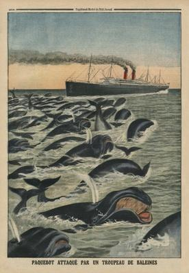 A shoal of whales attacking a liner, back cover illustration from 'Le Petit Journal', supplement illustre, 17th August 1913