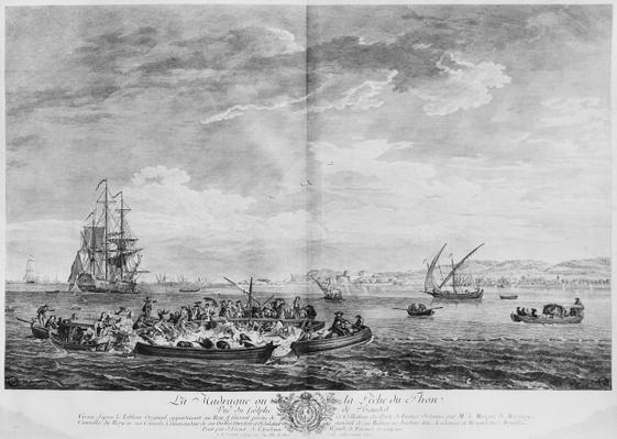 'La Madrague' or tuna fishing, view of the Bay of Bandol, series of 'Les Ports de France', engraved by Charles Nicolas Cochin the Younger