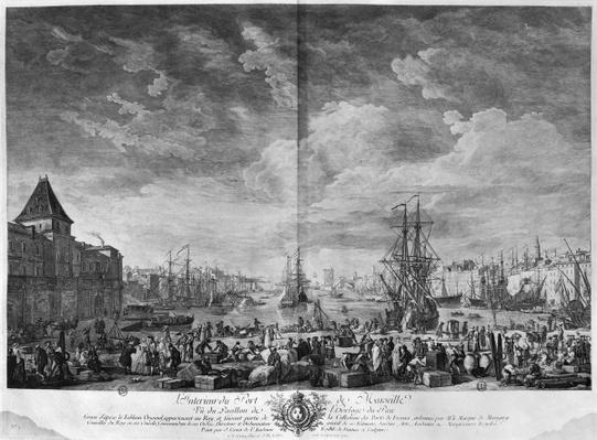 Inner Port of Marseille, seen from the Pavilion of the Horloge du Parc, series of 'Les Ports de France', engraved by Charles Nicolas Cochin the Younger
