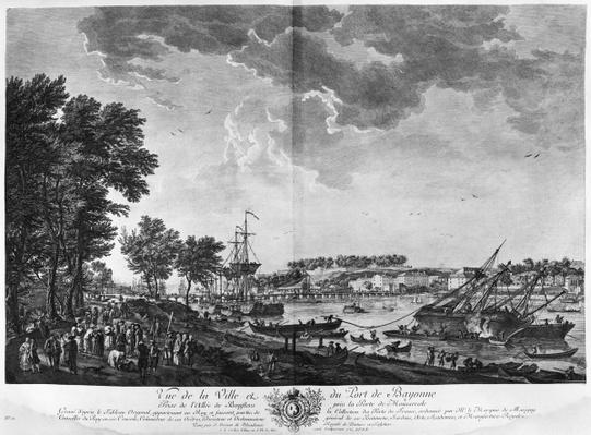 View of the Town and Port of Bayonne seen from the avenue of Bouflers near the gate of Mousserole, series of 'Les Ports de France', engraved by Charles Nicolas Cochin the Younger