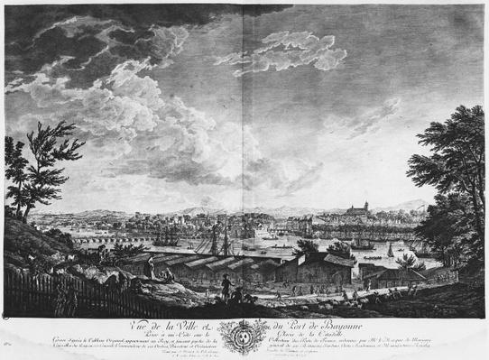 View of the Town and Port of Bayonne seen from halfway down the citadel, series of 'Les Ports de France', engraved by Charles Nicolas Cochin the Younger