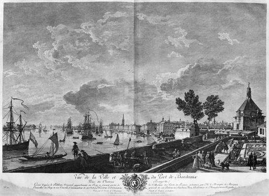View of the Town and Port of Bordeaux seen from Chateau Trompette, series of 'Les Ports de France', engraved by Charles Nicolas Cochin the Younger