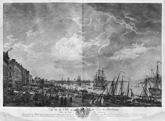 View of the Town and Port of Bordeaux seen from the Salinieres, series of 'Les Ports de France', engraved by Charles Nicolas Cochin the Younger
