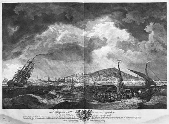 The Port of Cette in Languedoc seen from the sea behind the isolated jetty, series of 'Les Ports de France', engraved by Charles Nicolas Cochin the Younger