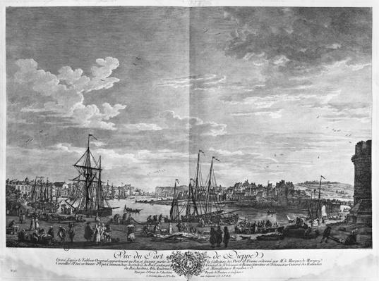 View of the Port of Dieppe, series of 'Les Ports de France', engraved by Charles Nicolas Cochin the Younger