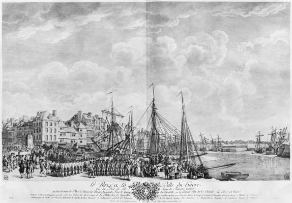 Port and Town of Le Havre, seen from the tower of Francois I, series of 'Les Ports de France', engraved by Charles Nicolas Cochin the Younger