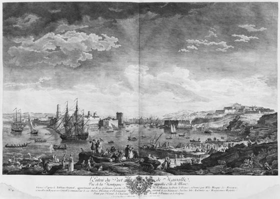 Entrance to the Port of Marseille, seen from the mountain called Tete de More, series of 'Les Ports de France', engraved by Charles Nicolas Cochin the Younger
