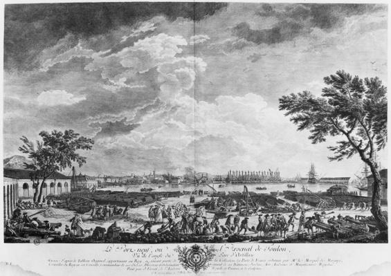 New Port and Arsenal of Toulon, seen from the artillery depot, series of 'Les Ports de France', engraved by Charles Nicolas Cochin the Younger
