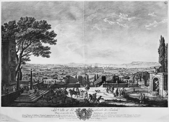 Town and Port of Toulon, seen from halfway down the mountain behind, series of 'Les Ports de France', engraved by Charles Nicolas Cochin the Younger