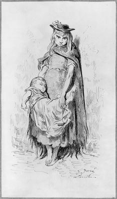 Poor girl with a child in London