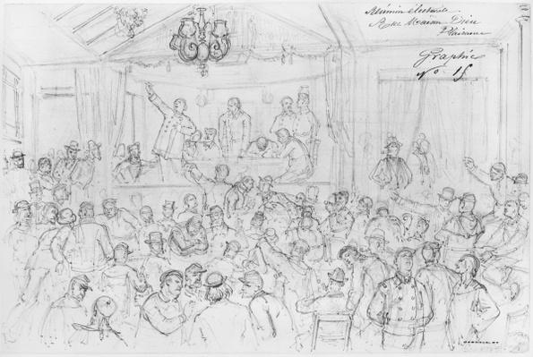 Album of the Siege of Paris, Election meeting rue Maison Dieu, Plaisance