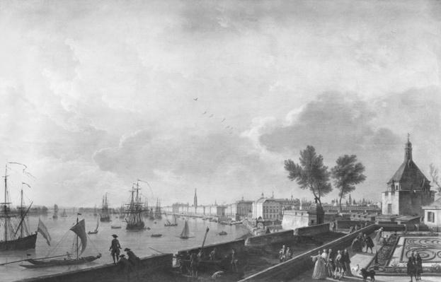 View of the Port of Bordeaux seen from Chateau Trompette, 1759