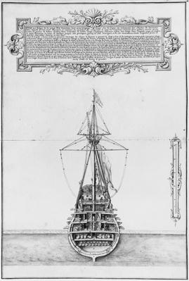 Inner stern of a fully armed and equipped vessel, illustration from the 'Atlas de Colbert', plate 43