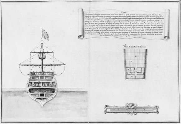 Inner prow of a vessel, illustration from the 'Atlas de Colbert', plate 46