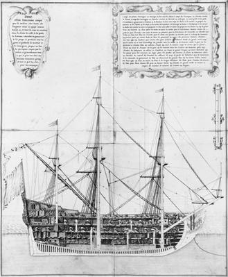 Longitudinal cross-section of an armed and equipped vessel, illustration from the 'Atlas de Colbert', plate 47