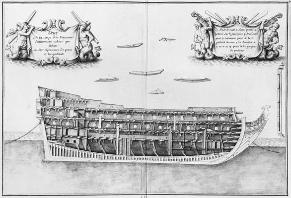 Cross-section of the fully completed inside of a vessel, illustration from the 'Atlas de Colbert', plate 37