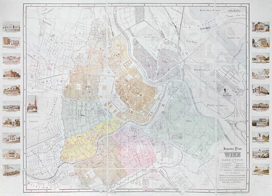 Map of Vienna, published by Klimsch & Co., Frankfurt, c.1860