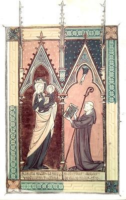 Ms.174 fol.2 Abbot Robert of Clairmarais presents his copy of 'De Laudibus Beatae Mariae Virginis' by Richard de Saint-Laurent to Our Lady of Clairmarais
