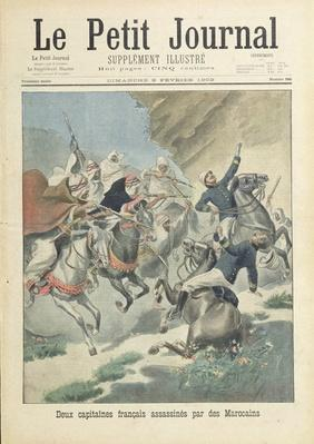 Assassination of two French captains from the Foreign Legion by Moroccans from the Beni-Smir tribe, cover illustration of 'Le Petit Journal', 9 February, 1902
