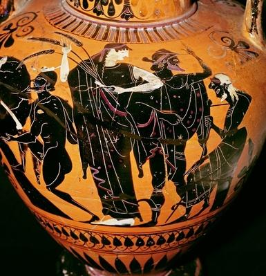 Attic black-figure vase depicting Synthos, Demeter, Hermes and the boatman, c.535-540 BC