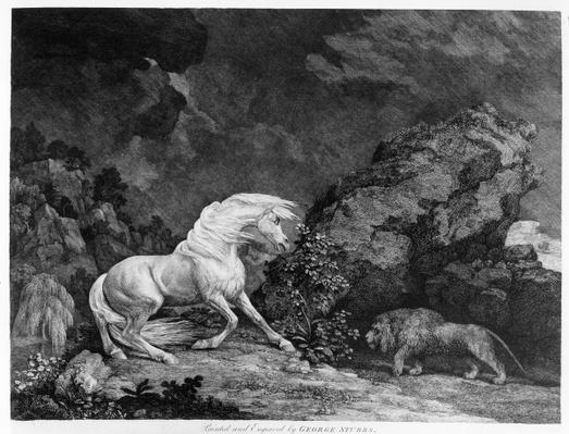 A Horse Affrighted by a Lion, engraved by the artist, 1777
