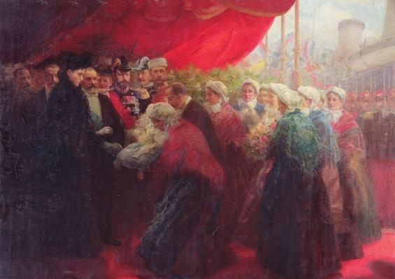 The Bazennes offering a silver fish to Alix of Hesse-Darmstadt, Empress of Russia, in Dunkirk in 1901