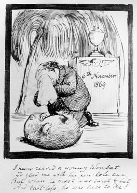 Rossetti lamenting the death of his Wombat, 1869