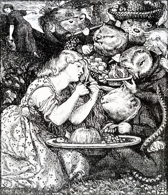Frontispece to 'Goblin Market and other poems' by Christina Rossetti, engraved by William Morris, c.1865
