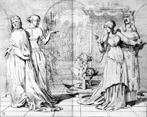 Cordelia led away from Goneril and Regan, illustration from 'The Germ', 1850