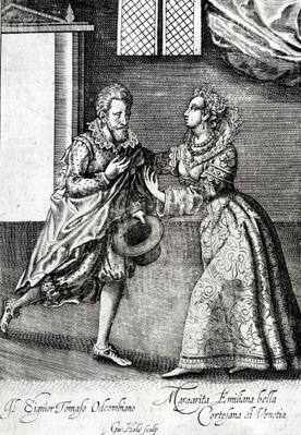 A Venetian courtesan, from 'Coryat's Crudities', 1611