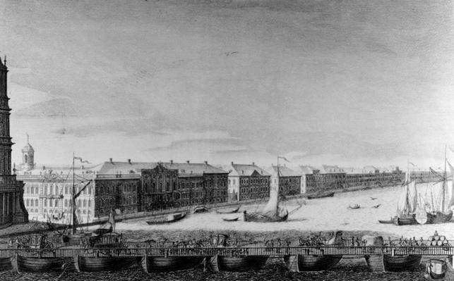 Saint Isaac's Pontoon Bridge across the River Neva