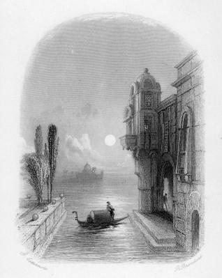 Moonlit scene in Venice, engraved by Robert Brandard, 1846