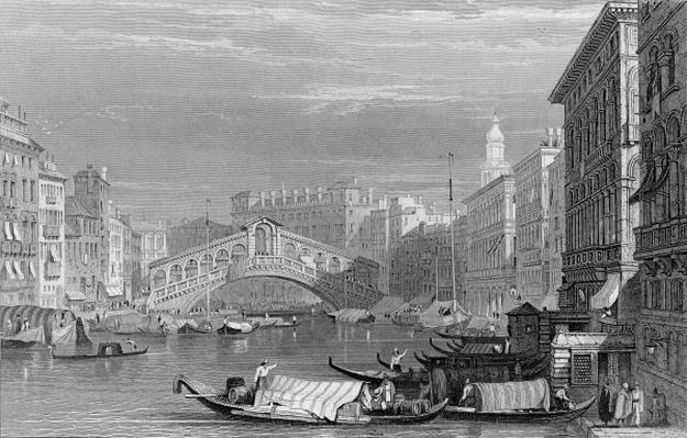 The Rialto Bridge, Venice, engraved by Edward Finden, c.1830