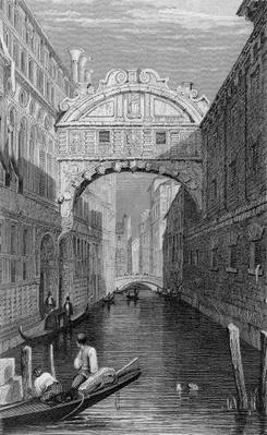 The Bridge of Sighs, Venice, engraved by Robert Wallis, 1829