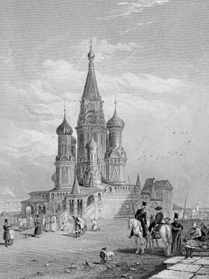 St. Basil's Cathedral, Moscow, engraved by Turnbull, 1835