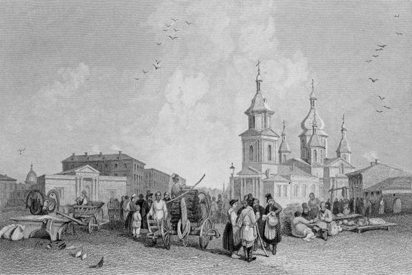 The Haymarket, St. Petersburg, engraved by W. Chevalier