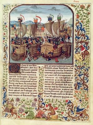 Fr 2643 f.82 Battle of Ecluse, 24th June 1340, from 'Froissart's Chronicle'