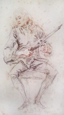 Seated Violinist Turning his Instrument;